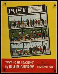 1j059 SATURDAY EVENING POST OCTOBER 20, 1951 special 22x28 '51 cool art of people waiting on train!