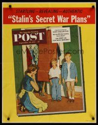 1j066 SATURDAY EVENING POST SEPTEMBER 20, 1952 special 22x28 '52 cute Sargent artwork!