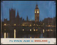1j038 FLY PAN AM TO ENGLAND travel poster '60s cool image of Big Ben & Westminster at night!