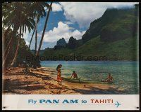 1j037 FLY PAN AM TO TAHITI travel poster '60s cool image of the beach, ocean & mountains!