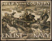 1j034 HELP YOUR COUNTRY STOP THIS ENLIST IN THE NAVY WWI war poster '17 art by Frank Brangwyn!