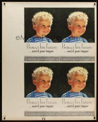 1j036 PROTECT HIS FUTURE uncut sheet of 4 WWII war posters '43 art of young boy by Earl Christy!