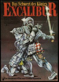 1k031 EXCALIBUR East German 22x32 '86 John Boorman, cool medieval fantasy artwork by DeMaiziere!