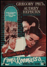 1k012 ROMAN HOLIDAY Finnish '53 different image of Audrey Hepburn & Gregory Peck in Italy!