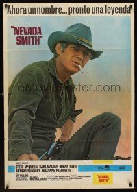 1k055 NEVADA SMITH Spanish '66 cool different image of cowboy Steve McQueen w/gun!
