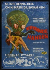 1k065 INVASION OF THE SAUCER MEN Swedish '57 classic AIP cabbage head alien & sexy girl art!