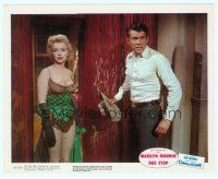 1m040 BUS STOP color 8x10 still '56 full-length cowboy Don Murray w/ sexy showgirl Marilyn Monroe!