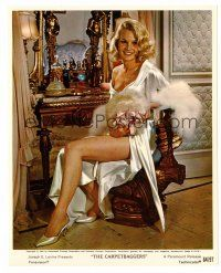 1m041 CARROLL BAKER color 8x10 still '64 full-length sexy seated portrait in silver satin gown!