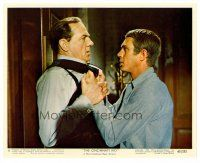1m046 CINCINNATI KID color Eng/US 8x10 still'65 pro poker player Steve McQueen roughs up Karl Malden
