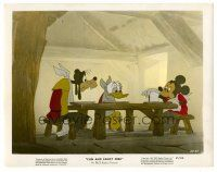 1m067 FUN & FANCY FREE color 8x10 still '47 Goofy, Donald & Mickey sitting at table starving, Disney
