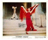 1m011 FUNNY FACE color 8x10 still '57 full-length Audrey Hepburn in sexy red dress on stairs!
