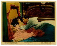 1m069 GIANT color 8x10 still #12 '56 Elizabeth Taylor & Rock Hudson look out window on train in bed!