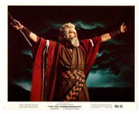 1m044 CHARLTON HESTON color 8x10 still R66 as Moses parting the Red Sea from The Ten Commandments!