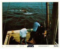 1m080 JAWS 8x10 mini LC #3 '75 Scheider, Shaw & Dreyfuss pointing gun at shark in the water!