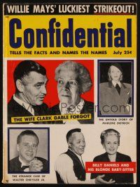 1p095 CONFIDENTIAL magazine July 1955 Clark Gable's first forgotten wife, Marlene Dietrich story!