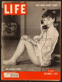 1p110 LIFE MAGAZINE magazine December 7, 1953 portrait of Audrey Hepburn wearing only a shirt!
