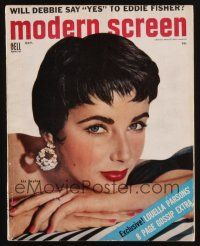 1p115 MODERN SCREEN magazine October 1954 close up of sexy Elizabeth Taylor by John Engstead!