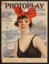 1p087 PHOTOPLAY magazine August 1918 art of Mabel Normand in bathing suit by W. Haskell Coffin!
