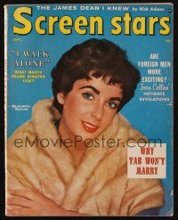 1p126 SCREEN STARS magazine September 1956 Elizabeth Taylor in fur coat from Raintree County!