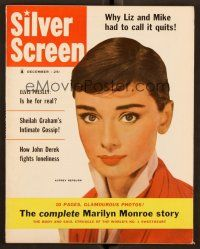 1p127 SILVER SCREEN magazine December 1956 Audrey Hepburn + great 10-page Marilyn Monroe article!