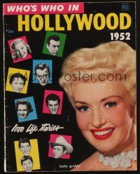 1p130 WHO'S WHO IN HOLLYWOOD magazine 1952 pretty Betty Grable + 1,000 life stories!