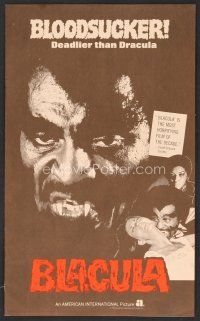 1p133 BLACULA pressbook '72 black vampire William Marshall is deadlier than Dracula, great image!