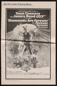 1p148 DIAMONDS ARE FOREVER pressbook '71 art of Sean Connery as James Bond by Robert McGinnis!