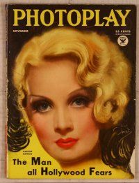 1p090 PHOTOPLAY magazine November 1933, fantastic art of Marlene Dietrich by Earl Christy!