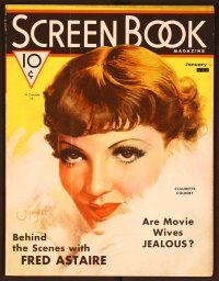 1p122 SCREEN BOOK magazine January 1936 wonderful art of Claudette Colbert in fur by Mozert!