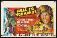 1r674 HELL IN NORMANDY Belgian '68 Guy Madison, Peter Lee Lawrence, cool WWII art!