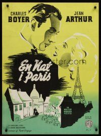 1r425 HISTORY IS MADE AT NIGHT Danish '51 cool different art of Charles Boyer & Jean Arthur!