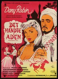1r432 IT HAPPENED IN ADEN Danish '57 Dany Robin, Andre Luguet, cool romantic art!