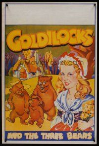 1r061 GOLDILOCKS & THE THREE BEARS stage play English double crown '30s cool stone litho art!