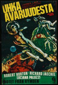 1r003 GREEN SLIME Finnish '68 classic cheesy sci-fi, wonderful art of sexy astronaut & monster!