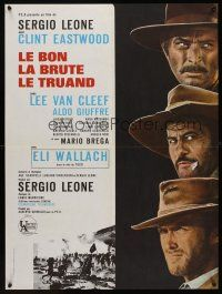 1r186 GOOD, THE BAD & THE UGLY French 23x32 R70s Clint Eastwood, Van Cleef, Sergio Leone, cool art!