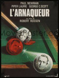 1r219 HUSTLER French 15x21 R82 cool art of Paul Newman, Piper Laurie & George C. Scott by Mascii!