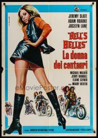 1r338 HELL'S BELLES Italian lrg pbusta '73 sexy too young too tough biker babe in leather skirt!