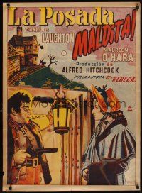 1r033 JAMAICA INN Mexican poster '39 Alfred Hitchcock, art of Leslie Banks & Maureen O'Hara!