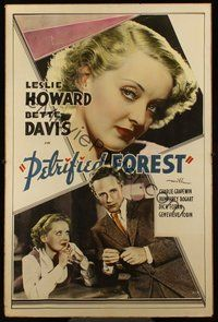1s014 PETRIFIED FOREST Meloy Bros. 40x60 '36 Bette Davis headshot close up & with Leslie Howard!