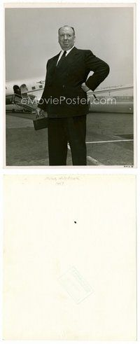 2a013 ALFRED HITCHCOCK candid 8x11 key book still '47 standing on runway about to get on plane!