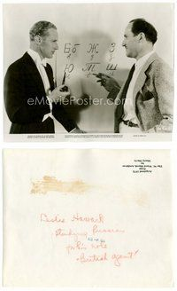 2a081 BRITISH AGENT candid 7.5x9.25 still '34 Leslie Howard being taught Russian for his movie role!