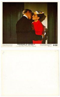 2a002 BREAKFAST AT TIFFANY'S color 8x10 still '61 Peppard kisses Audrey Hepburn wearing party mask!