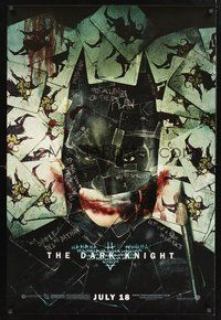 2b146 DARK KNIGHT wilding 1sh '08 cool playing card montage of Christian Bale as Batman!