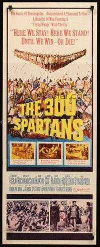 2d008 300 SPARTANS insert '62 Richard Egan, the mighty battle of Thermopylae!