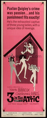 2d005 3 IN THE ATTIC insert '68 Yvette Mimieux, great sexy artwork of naked girls dancing!