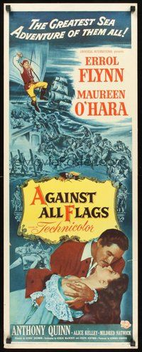 2d018 AGAINST ALL FLAGS insert '52 pirate Anthony Quinn, Flynn w/swashbuckling Maureen O'Hara!