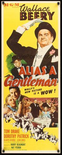 2d020 ALIAS A GENTLEMAN insert '48 cool art of Wallace Beery with top hat & monocle!