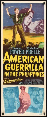 2d022 AMERICAN GUERRILLA IN THE PHILIPPINES insert '50 art of Tyrone Power & Micheline Prelle!
