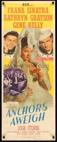 2d023 ANCHORS AWEIGH insert '45 sailors Frank Sinatra & Gene Kelly with Kathryn Grayson!