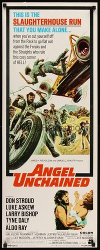 2d026 ANGEL UNCHAINED int'l insert '70 AIP, bikers & hippies, this is the hell run that you make alone!